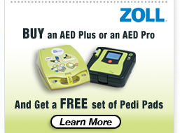 Free Pedi Pads with AED Defibrillator